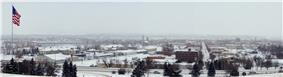 Great Falls in the winter. The Missouri river and Flag Hill are pictured leftmost with the downtown area to the right.