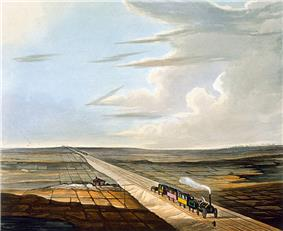 A very early steam locomotive pulling four open carriages under a cloudy blue sky along a track slightly built up from the surrounding flat countryside. The train has just passed a small farmhouse and is approaching a gentleman who is standing by the side of the track.