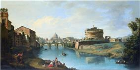 Roman panorama showing, centre, an arched bridge over a river with a domed building in the distance. To the right of the bridge is a large circular fortress.