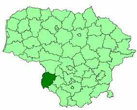 Location of Vilkaviškis district municipality within Lithuania