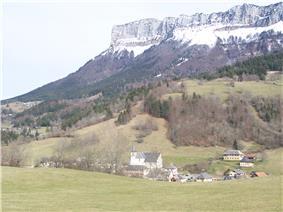 View of Entremont-le-Vieux behind the Mont Granier