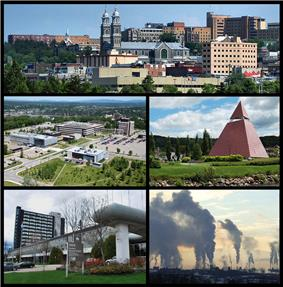 From top left: Downtown Chicoutimi borough, the UQAC, the Ha!Ha! pyramid, the Cégep de Jonquière, and Rio Tinto's aluminium smelters in Arvida