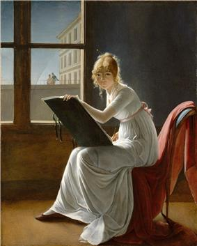 An oil painting of a young woman dressed in a flowing, white dress sitting on a chair with a red drape. An easel rests on her knees and she is evidently drawing. She is gazing directly at the observer.