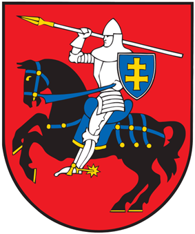 A coat of arms depicting a man in full body armour riding a black horse and carrying a white spear with a golden blade in his right hand