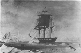 Sloop USS Vincennes in the Antarctic, the ship that Waldron sailed in during the Wilkes Expedition