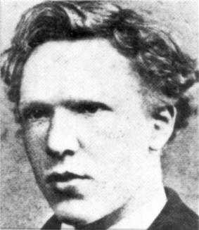 Headshot photo of the artist as a cleanshaven young man. He has thick, ill-kempt, wavy hair, a high forehead, and deep-set eyes with a wary, watchful expression.