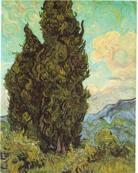 A pair of large trees to the left, one so tall it goes out of the top of the picture and mountains in the distance along the horizon. The afternoon sky is painted with bright blue and green swirls with white clouds and a visible daytime crescent moon also surrounded by swirls and halos. The dark green trees to the left are painted with thick impasto brush-strokes and swirls as well as the lighter yellow-green grasses in the foreground below.