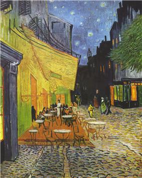 an outdoor cafe with tables and chairs to the left of an adjacent a streetway beneath an awning and under a nighttime sky with yellow stars in a dark sky; people are present in the background of both the cafe and street but not the foreground; dark buildings line the right side of the streetway.