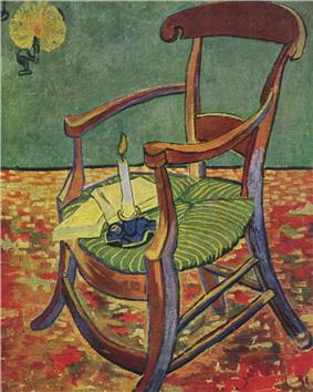 A wooden rocking chair with a couple of opened books set on the green and yellow seat cushion with a lit candle in a holder also on the seat of the chair. On the wall is a burning candle in a holder casting a glowing light.