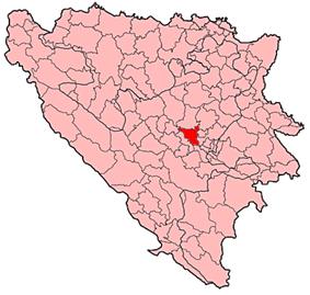 Location of Visoko within Bosnia and Herzegovina.
