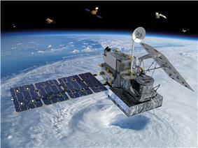 This image depicts the GPM Core Observatory satellite orbiting Earth, with several other satellites from the GPM Constellation in the background. Global Precipitation Measurement (GPM) is an international satellite mission that will set a new standard for precipitation measurements from space, providing the next-generation observations of rain and snow worldwide every three hours.
