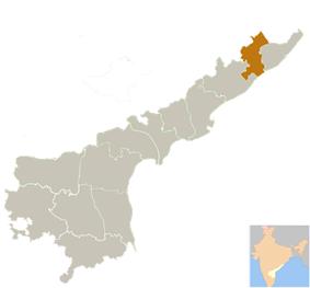 Location of Vizianagaram district in Andhra Pradesh