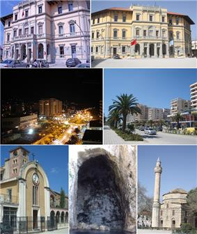 From top to bottom, left to right: City Hall, Vlorë at night, Vlorë shoreline, Old Catholic church, Sea caves, Muradie Mosque
