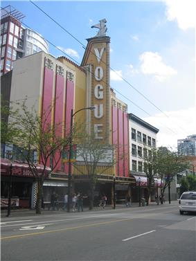 Front facade and marquee of the Vogue Theatre