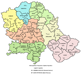 Map of municipalities of Vojvodina