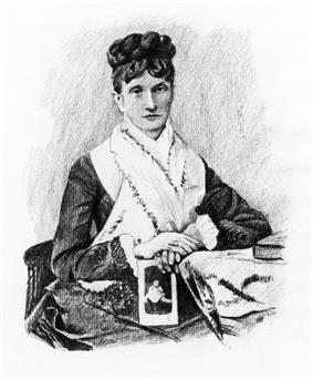 A middle-aged woman wearing her hair up on her head, wearing a dark dress with a large white collar.