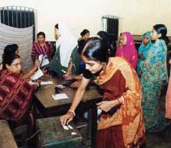 Women voting in Bangladesh
