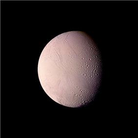 Color image of Enceladus showing terrain of widely varying ages