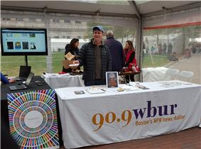 The WBUR-FM information booth at the 2015 Boston Book Festival.