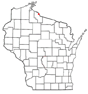 Location of Hurley, Wisconsin