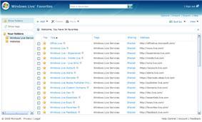 Windows Live Favorites homepage
