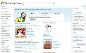 A screenshot of Windows Live Shopping homepage