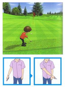 Composite of three separate images, with a larger one above two smaller ones. The larger image is a video game screenshot that is a digital representation of a golf course. A red player character stands on the green grass while holding a putter. Trees and a flagstick can be seen in the distance. The first smaller image in the lower left corner depicts a person in a light-purple shirt and blue jeans pulling their right arm away from their body. A small blue arrow points to the second smaller image in the lower right corner. It depicts the same person swinging their right arm in front of their body.