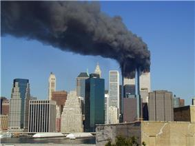 Smoke flowing from World Trade Center buildings after terrorist attacks