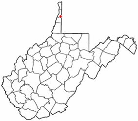 Location of Bethany, West Virginia