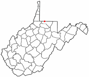 Location of Blacksville, West Virginia