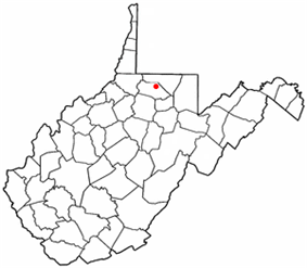 Location of Grant Town, West Virginia