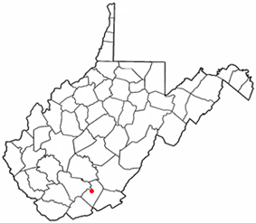 Location of Hinton, West Virginia