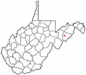 Location of Moorefield, West Virginia