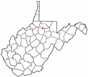 Location of Shinnston, West Virginia
