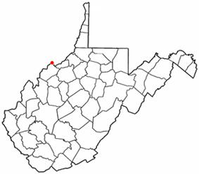 Location of Williamstown, West Virginia