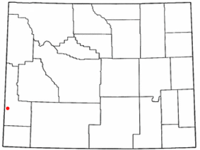 Location of Cokeville, Wyoming