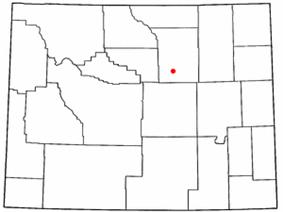 Location of Kaycee, Wyoming
