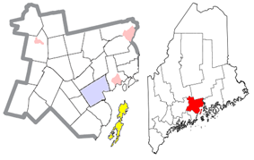 Location of Islesboro (in yellow) in Waldo County and the state of Maine