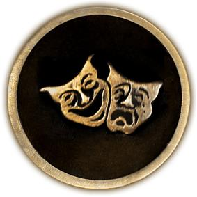 Circular 4-inch brass plaque with the classic theatrical comedy/tragedy masks