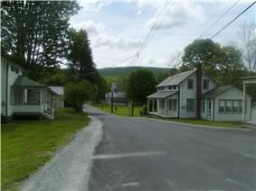 The downtown of Wallpack Center, New Jersey facing towards the east, away from National Park Service Route 615.