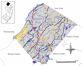 Map of Walpack Township in Sussex County. Inset: Location of Sussex County highlighted in the State of New Jersey.