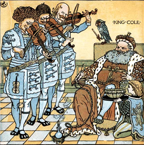 A bearded man dressed in an ermine robe and hat sits as three men dressed in livery each play a fiddle and a young page dressed in a tunic and striped tights kneels on a tiled floor to the right of the man's chair