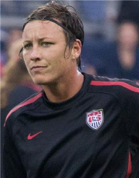 Abby Wambach in the United States national team training jersey.
