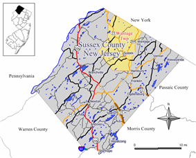 Map of Wantage Township in Sussex County. Inset: Location of Sussex County highlighted in the State of New Jersey.
