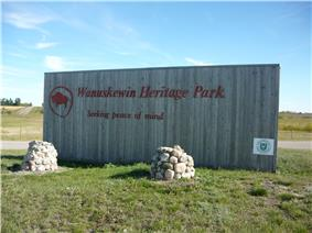 Wooden sign at entrance to Wanuskewin Heritage Park