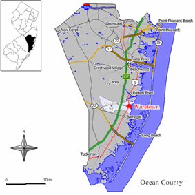 Map of Waretown highlighted within Ocean County. Inset: Location of Ocean County in New Jersey.