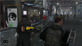 The player character walking through an urban environment, using his smartphone to scan the area for crime. The heads-up display elements are visible on-screen.