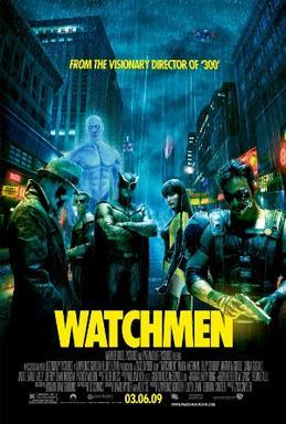 A rainy city. Six people stand there, all but one - a masked man in hat and trench coat - staring at the viewer: a muscular and glowing blue man, a blonde man in a spandex armor, a man in an armor with a cape and wearing a helmet resembling an owl, a woman in a yellow and black latex suit, and a mustached man in a leather vest who smokes a cigar and holds a gun. Text at the top of the image includes