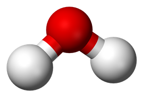 Ball-and-stick model of a water molecule