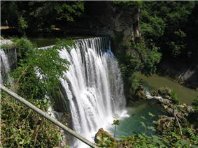 Waterfall in Jajce Bosnia.JPG